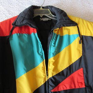 Vintage Ski Jacket L Color Block Hong Kong Black